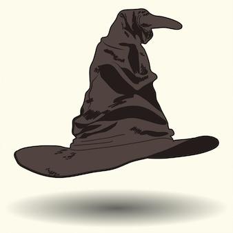Parler de chapeau de sorcière, illustration de style dessin animé,