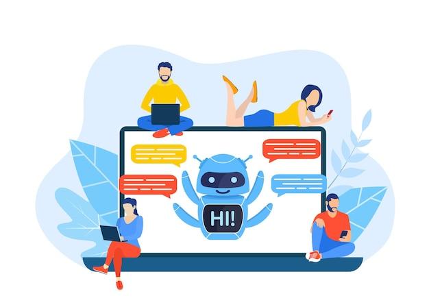 Parler à un chatbot en ligne sur un ordinateur portable.