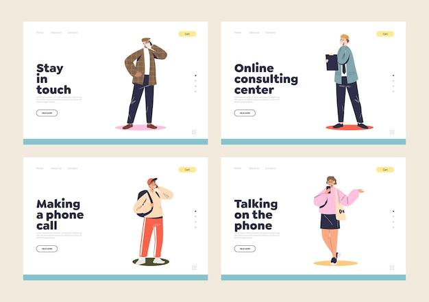 Parler sur le concept de téléphone portable de pages de destination de modèle définies avec différentes personnes utilisent un smartphone