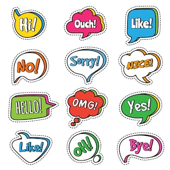 Parler phrase. bulles de dialogue avec texte de dialogue de mots oui, omg,