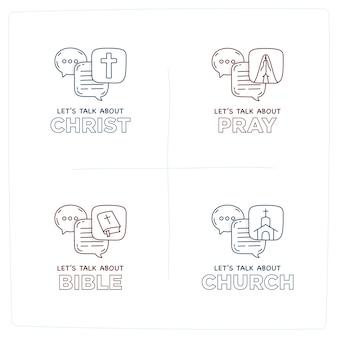 Parlons de l'église doodle illustration bulles de dialogue