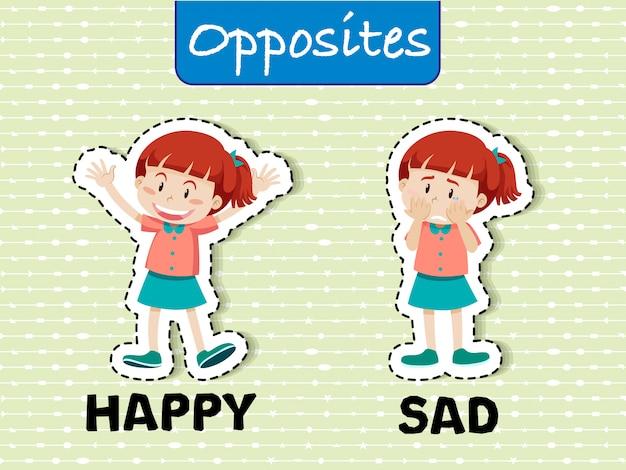 Parole opposée heureuse et triste