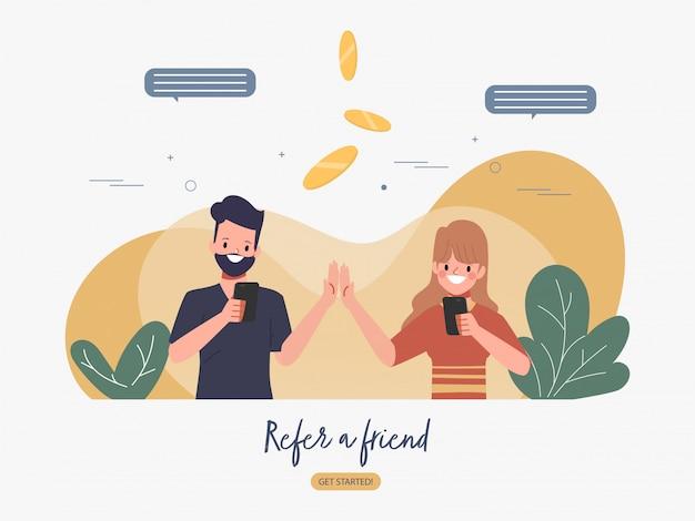 Parrainez un ami et obtenez un design plat de concept d'argent bonus.