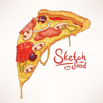 Une part de pizza appétissante dessinée à la main