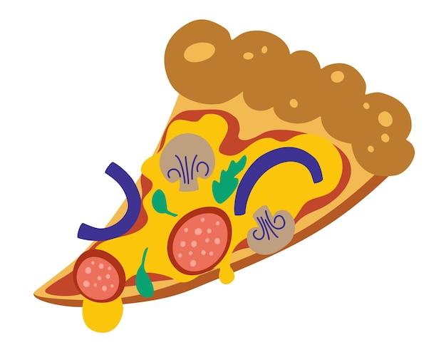 Part de pizza. délicieuse tranche de pizza avec fromage fondu, salami, oignons et champignons.