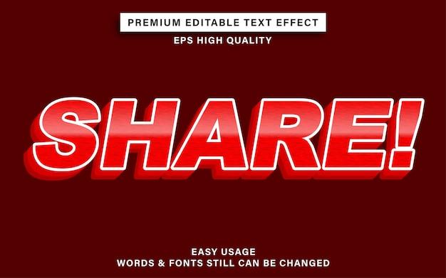 Partage d'effet de texte modifiable avec la couleur rouge