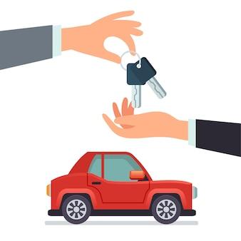 Partage de voiture main donnant des clés de voiture