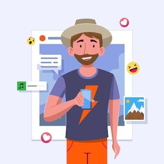 Partager du contenu sur les réseaux sociaux avec l'homme et le smartphone