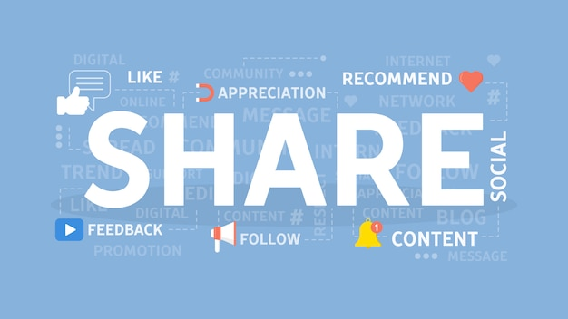 Partager l'illustration du concept. idée de recommandation, de rétroaction et de contenu.
