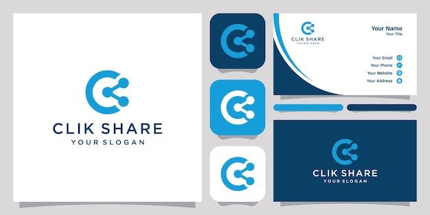 Partager avec la lettre c logo icône symbole modèle logo et carte de visite