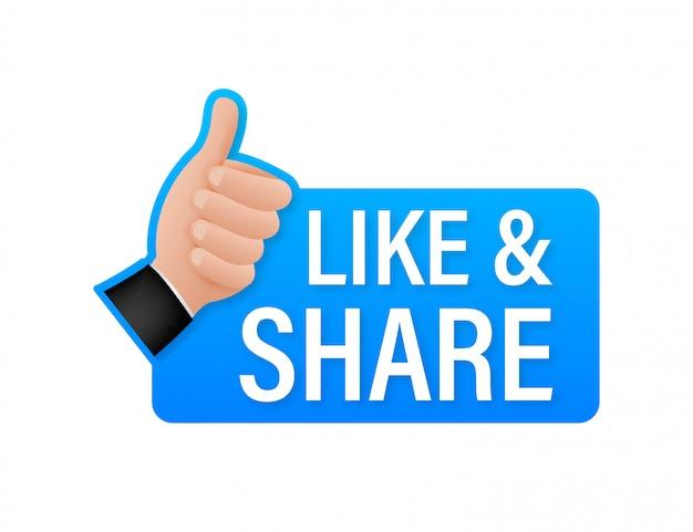 Partagez comme sur fond blanc. pouce en l'air. comme la main. signe des médias sociaux. illustration de stock.