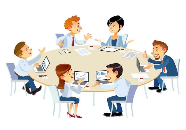 Les partenaires commerciaux discutent des documents et des idées lors de la réunion. gens d'affaires montrant le travail d'équipe tout en travaillant. des gens aident un de leurs collègues à terminer un nouveau plan d'affaires.