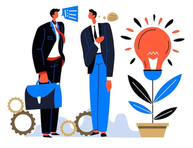 Partenaires commerciaux partageant des idées sur le développement