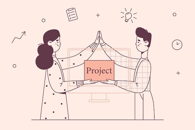 Partenaires commerciaux projets concept de travailleurs d'entreprise