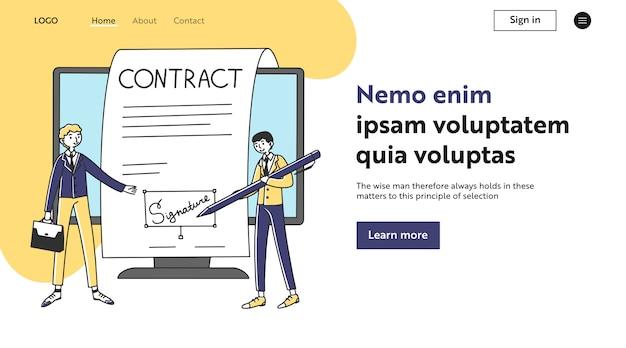Partenaires commerciaux signant un contrat