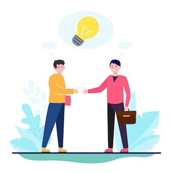 Partenaires de démarrage se serrant la main