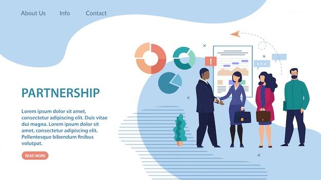 Partenariat informatif bannière lettrage à plat.