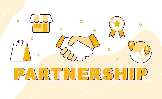 Partenariat typographie mot art fond d'icône poignée de main magasin sac à provisions certificat global avec style de contour
