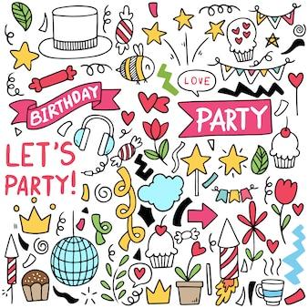 Parti dessiné main doodle joyeux anniversaire motif de fond d'ornements
