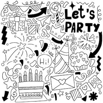 Parti dessiné main doodle joyeux anniversaire ornements fond patternflag