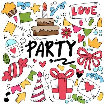 Parti dessiné à la main doodle joyeux anniversaire
