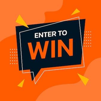 Participez pour gagner un modèle vectoriel orange pour la bannière de promotion