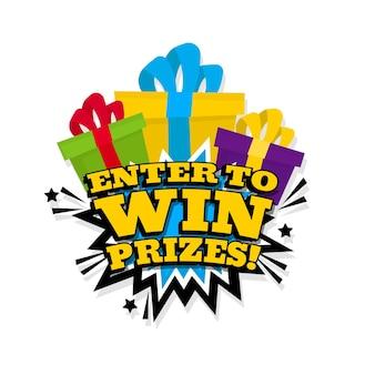 Participez pour gagner des prix dans le style pop art. illustration vectorielle.