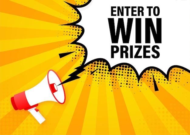 Participez pour gagner des prix mégaphone bannière jaune dans un style 3d. illustration.