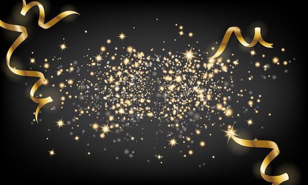 Particule de scintillement doré et fond de ruban tombant