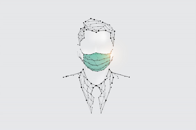 Les particules, l'art géométrique, la ligne et le point de l'homme avec un masque de protection contre les virus