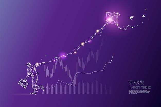 Les particules, l'art géométrique, la ligne et le point de la tendance du marché boursier