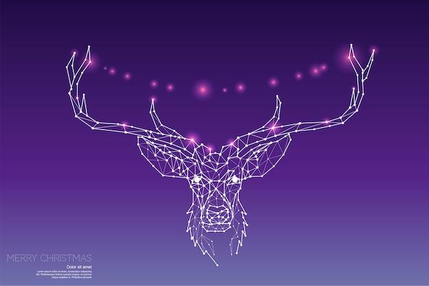 Les particules, l'art géométrique, la ligne et le point de la tête de cerf
