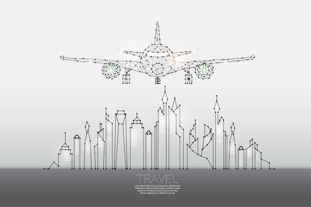 Les particules, art géométrique, ligne et point de ville avec avion