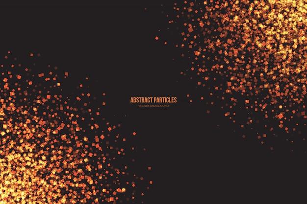 Particules chatoyantes doré fond abstrait vector