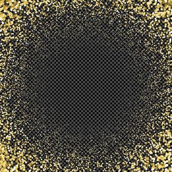 Particules de couleur or vecteur étincelles effet poussière brillante confettis texture art luxe magie riche artistique abstrait dégradé radial fond sombre