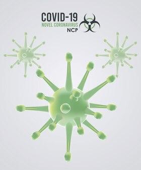 Particules covid19 et conception d'illustration de modèle de campagne de lettrage