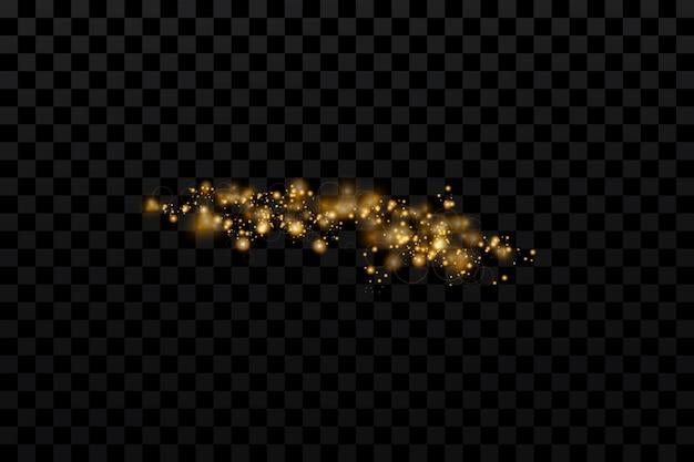 Particules dorées étincelantes sur transparent