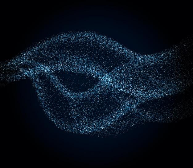 Particules dynamiques. flux numérique. vague de fumée.