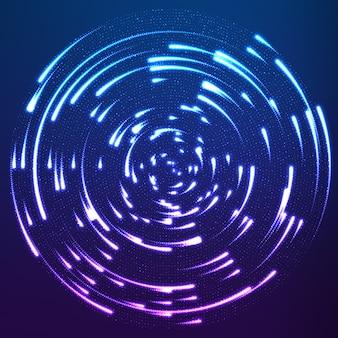 Particules incandescentes volant autour du centre, laissant des traces