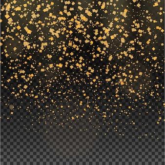Particules de paillettes d'or chères sur transparent