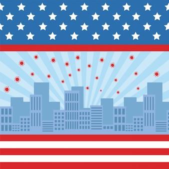Particules pandémiques covid19 dans le paysage urbain