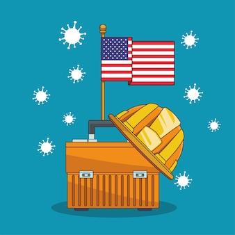 Particules pandémiques covid19 avec drapeau américain et boîte à outils