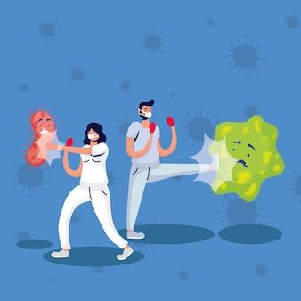 Les particules pandémiques de covid19 et les médecins se battent