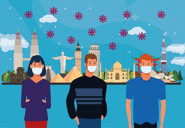 Particules pandémiques covid19 avec des personnes utilisant des masques faciaux