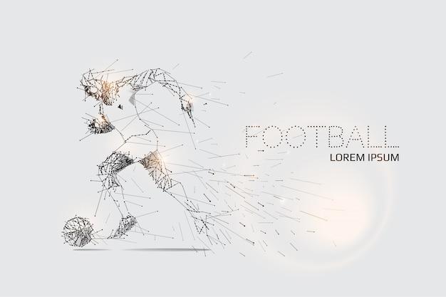 Les particules et le point de ligne du mouvement du joueur de football