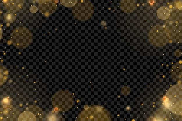 Particules de poussière dorées scintillantes bokeh effet de lumière scintillant de noël étincelle jaune étincelles étoile