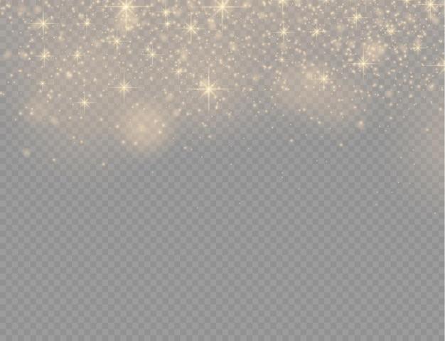 Particules de poussière magique dorées scintillantes sur fond transparent, étincelles, lumières brillantes, étincelles de poussière jaunes et étoiles brillantes avec une lumière spéciale, effet de lumière scintillante de noël, illustration vectorielle.