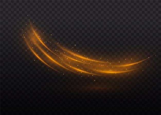 Particules de poussière magique étincelante. poussières jaunes étincelles jaunes, étoiles dorées brillent d'une lumière spéciale. effet de lumière élégant abstrait de noël sur fond transparent. modèle abstrait de noël.