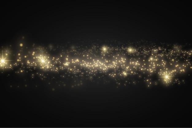 Particules de poussière magiques dorées scintillantes