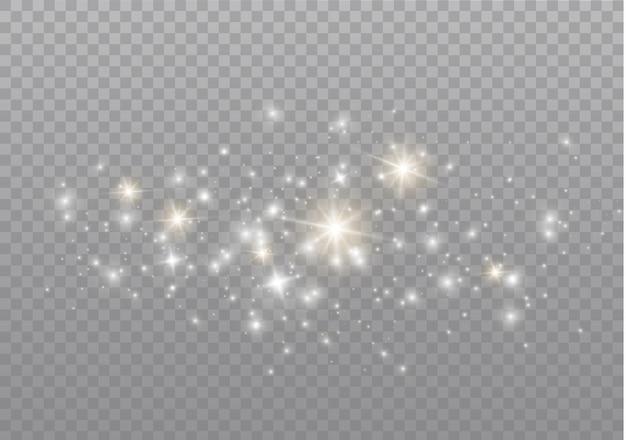 Des particules de poussière magiques scintillantes. effet lumineux, lumière parasite.